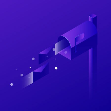 Vector isometric concept shipping illustration. Classic home mailbox and fast flying letters. Neon style.