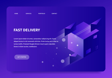 Vector isometric concept shipping illustration. Fast flying cardboard box and letters. Neon style futuristic landing page.