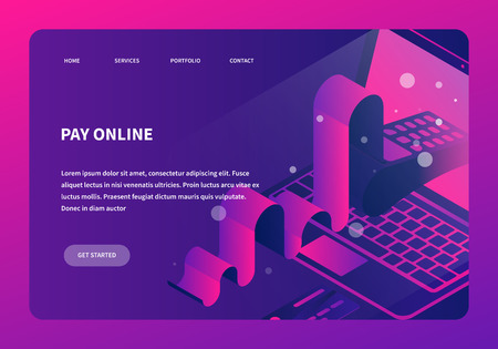 Vector isometric online payment concept illustration. Laptop with card terminal appearing through screen with card and long receipt. Neon futuristic style landing page..