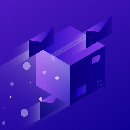 Vector isometric concept shipping illustration. Fast flying cardboard box and letters. Neon futuristic style.