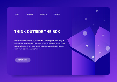 Vector isometric box concept illustration. Open box with magic light shining from inside. Neon landing page. Иллюстрация