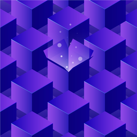 Vector isometric box illustration. Open box with magic light shining from inside among closed ones. Neon concept illustration.