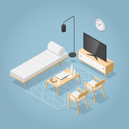 Vector isometric living room in mid century style. Sofa with pillows, chair, poster and book shelf on the wall, coffee table with vase open book and glasses, rug on the floor. Detailed illustration.