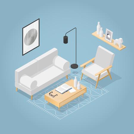 Salon isométrique de vecteur dans le style du milieu du siècle. Canapé avec oreillers, chaise, affiche et étagère à livres sur le mur, table basse avec vase à livre ouvert et verres, tapis au sol. Illustration détaillée. Vecteurs