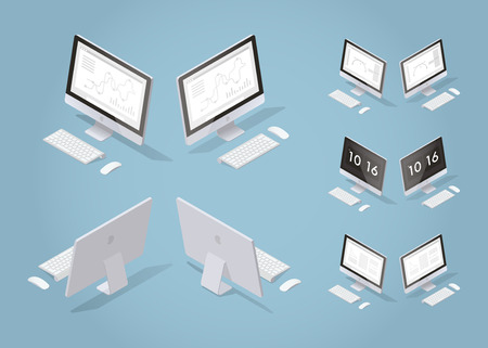 Isometric vector desktop illustration. Set of opened laptop from different sides with optional screens for business with graphs and charts, freelance job, learning and time screen saver.