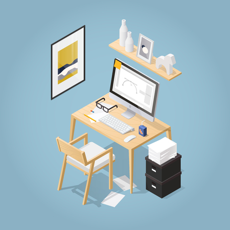 Isometric vector home office illustration. Cosy workplace interior set: table, modern chair, picture, shelf, pile of paper, desktop computer, keyboard, mouse, glasses. Working from home concept.