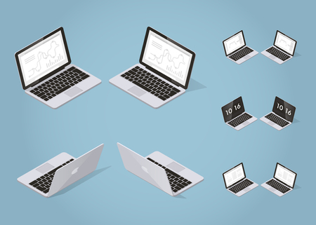 Isometric vector laptop illustration. Set of opened laptop from different sides with optional screens for business with graphs and charts, freelance job, learning and time screen saver.