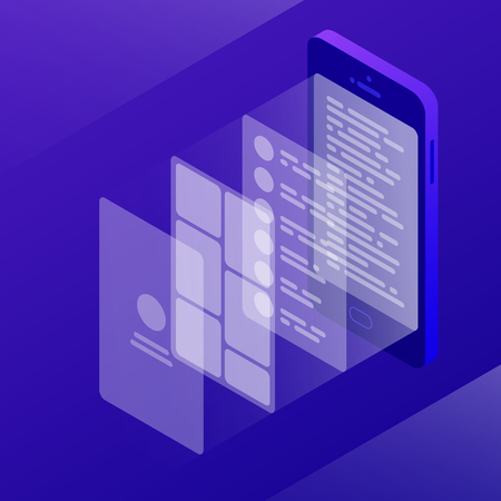 Vector isometric creating ux design illustration.Phone app programming concept. Abstract electronic device with layers of functional pages from user interface to coding.