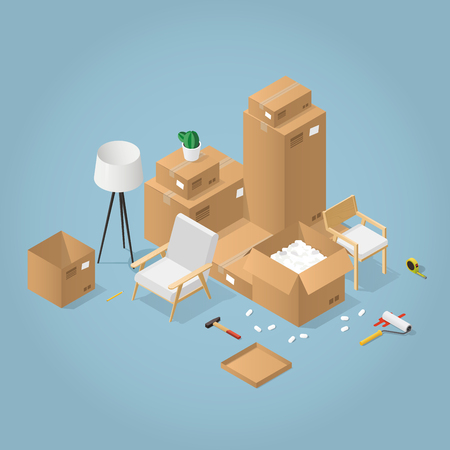 Isometric detailed concept illustration of moving to a new house. Cardboard boxes with furniture, armchair, wheel chair, lamp, different instruments and tools.