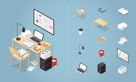 Office workplace vector isometric concept illustration. Work table composition plus collection of objects: table, chair, laptop, trash bin, lamp. glasses, folder, boxes, board, pile of papers.