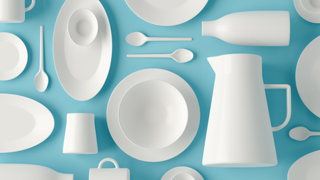 Top view of white ceramic tableware set on blue background. Flatlay layout. Фото со стока