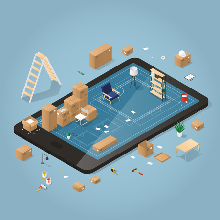 Isometric detailed concept illustration of online planing on moving to a new house. Cardboard boxes with furniture, couch, wheel chair, lamp, different instruments and tools. Иллюстрация
