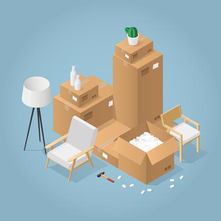 Illustration de concept détaillé isométrique du déménagement dans une nouvelle maison. Boîtes en carton avec meubles, fauteuil, chaise roulante, lampe, différents instruments et outils. Vecteurs