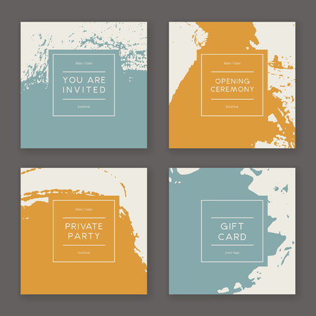 Set of creative freehand cards. Set of invitation, gift card, or cover. Hand Drawn textures made with ink. Vector. Isolated.