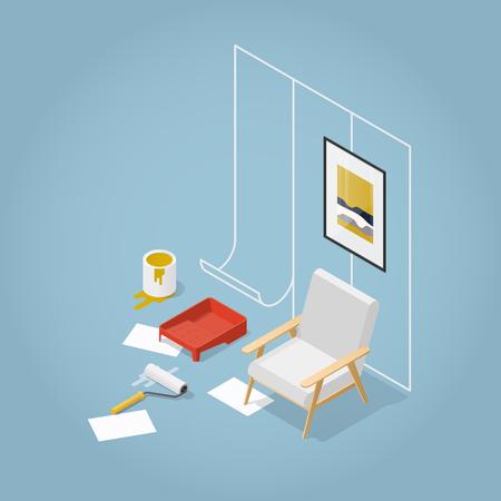 Isometrische Concept Home Renovatie. Behanglijmen, schilderen van muren, afwerkingswerkzaamheden. Vector illustratie.