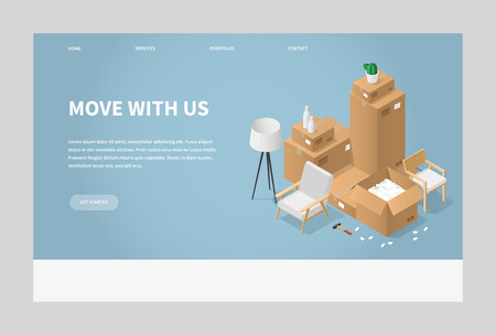 Isometric detailed illustration of moving to a new house. Cardboard boxes with furniture, armchair, lamp, different instruments and tools. Landing page concept.