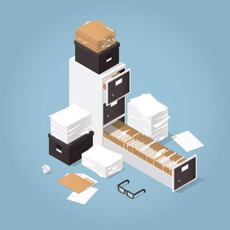 Isometric Concept Folder Archive. Vector illustration with paper, boxes and documents. Collecting data.