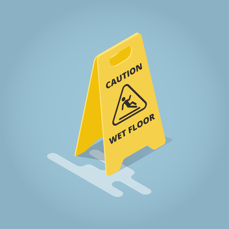 Isometric Concept Template Warning Plate. Yellow plate caution wet floor. Vector illustration. Иллюстрация