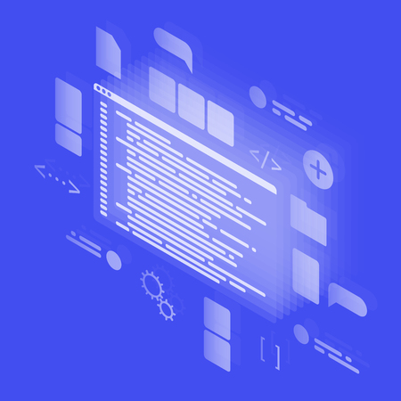 Isometric Concept Coding Neon. Programming and IT technologies. Vector illustration with template Integrated Development Environment.