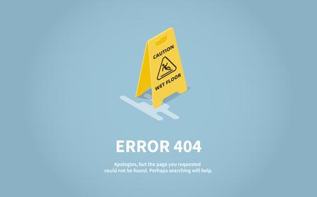 Isometric Concept Web Error Page. Page 404 with inscription, description. Yellow plate caution wet floor. Vector illustration.
