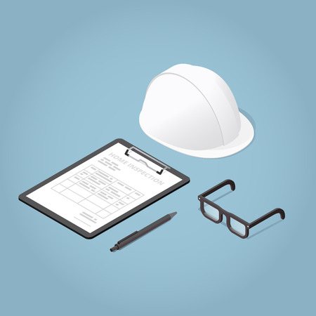 Isometric Concept Home Inspection. Working Tools. Glasses, helmet, clipboard. Production safety. Vector illustration.