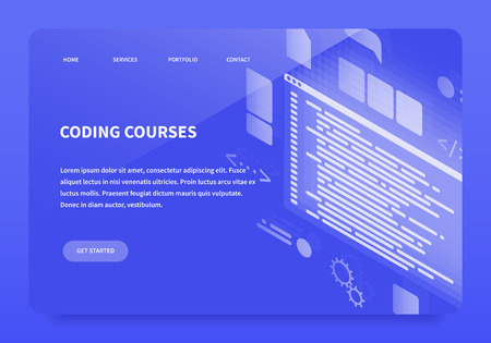 Isometric Concept Landing Page Coding Courses. First main page of site. Vector illustration with template web page.