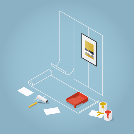 Isometric Concept Home Renovation. Wallpaper gluing, painting of walls, finishing works. Vector illustration.