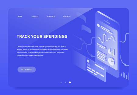 Vector isometric illustration of banking app tracking spendings and income. Mobile device with diagrams, charts on the screen and credit card. Landing page concept.