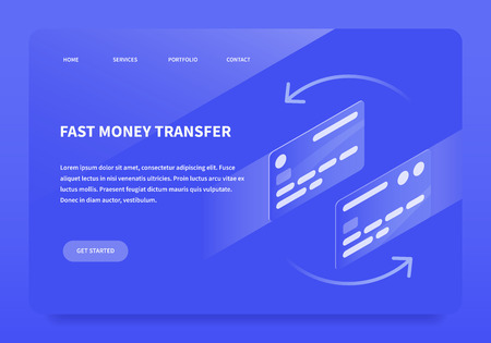 Vector isometric fast money transfer illustration. Two credit card moving toward each other to make a transaction. Landing page concept.