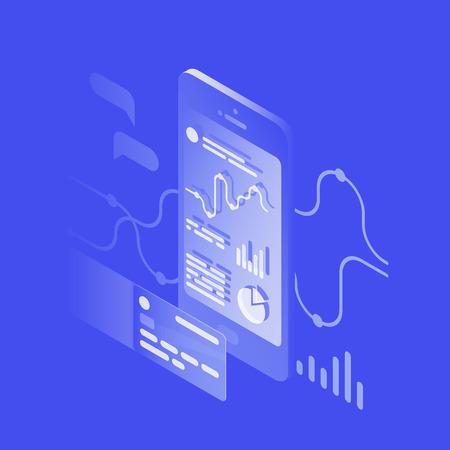 Ilustración isométrica de vector de la aplicación bancaria que rastrea los gastos e ingresos. Dispositivo móvil con diagramas, gráficos en pantalla y tarjeta de crédito. Concepto de banco en línea. Ilustración de vector