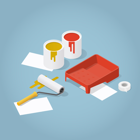 Isometric vector room renovation illustration. Set of objects for painting: buckets with paint, paint roller, masking tape, tray, sheets of parer. Repaint and construction concept.