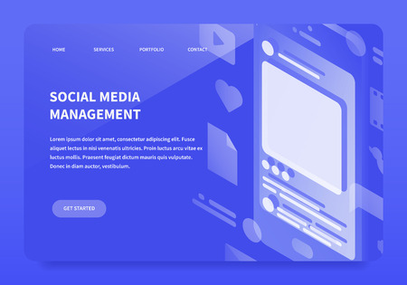 Vector isometric social media management service landing page service concept. Mobile device with SMM symbols - play icon, heart, like, video, dialogue message bubble, letter sign, document, etc.