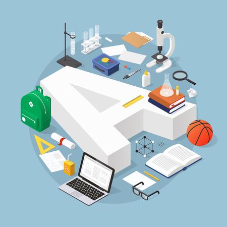 Isometrische onderwijsconcept illustratie: bied rang A met afstudeerkap omgeven door stapel boeken, glazen, diploma, reageerbuis, microscoop, rugzak, basketbal, lunchdoos en briefpapier.
