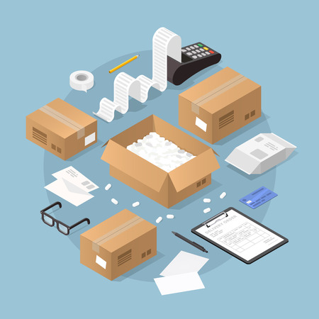 Vector isometric illustration of online purchase and delivery. Credit card machine printing large receipt with credit card laying nearby, cardboard boxes, packages with delivery form and pencil.