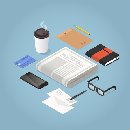 Isometric vector morning newspaper illustration. Daily news paper, glasses for reading, phone, envelopes, organiser, credit card and hot morning coffee. Modern business lifestyle concept.