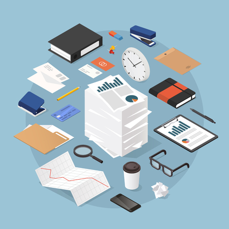 Vector isometric office work concept illustration. Stack of parer with clipboard, book, folder, pen, pencil, glasses, clock, stationery, diagram, file, magnifier, report, envelopes.