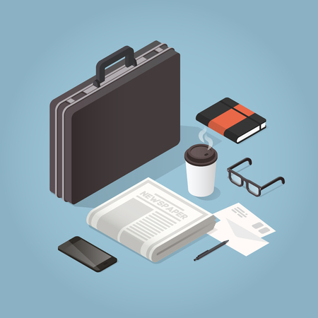 Vector isometric businessman hard case illustration. Case with morning newspaper, coffee, glasses, envelopes, phone and organiser. Business morning routine concept.