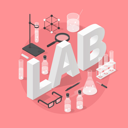 Detailed isometric illustration of chemical laboratory equipment. Set of various test tubes, flask, jars and bottles with liquid, dropper, support stand, magnifier, glasses and other tools.