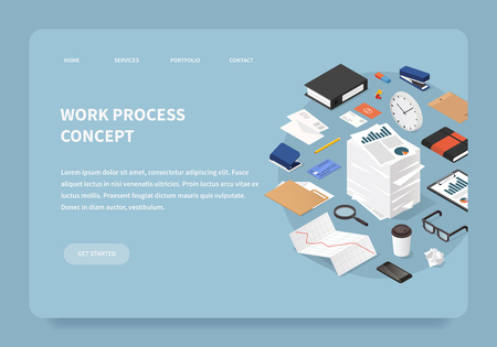 Vector isometric office work landing page concept. Stack of parer with clipboard, book, folder, pen, pencil, glasses, clock, stationery, diagram, file, magnifier, report, envelopes.