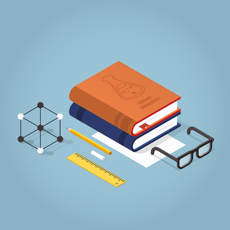 Vector isometric school homework  illustration. Stack of books with reading glasses, atomic model, papers, stationery. Read up for exams concept.