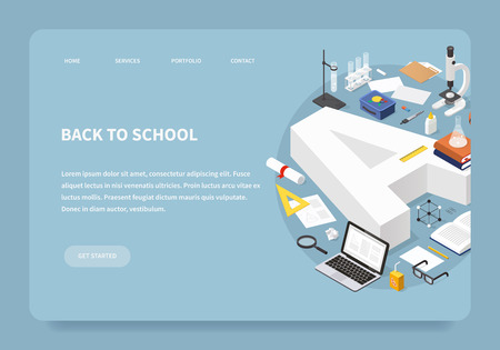 Isometric education landing page concept. Bid grade A with graduation cap surrounded by stack of books, glasses, diploma, test-tube, microscope, backpack, open book, flask, lunch box and stationery. Иллюстрация