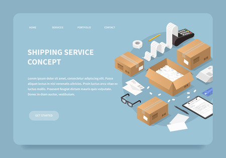 Vector isometric illustration of shipping service. Credit card machine printing large receipt with credit card laying nearby, cardboard boxes, packages with delivery form. Landing page concept. Иллюстрация