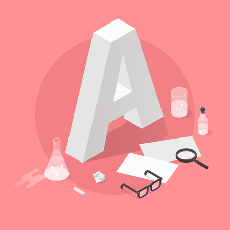 Vector isometric school grade illustration. Big letter grade A with glasses, papers, test-tubes, magnifier and chalk. Exam results concept. 写真素材 - 110247217