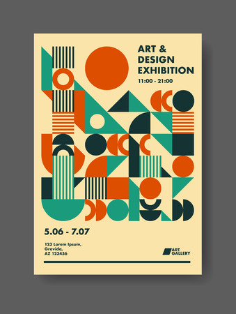 Abstract template poster design. Creative vector solution for your event or announcement. Retro mid century theme geometric design. 矢量图像