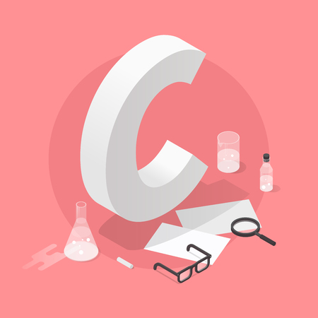 Vector isometric school grade illustration. Big letter grade C with glasses, papers, test-tubes, magnifier and chalk. Exam results concept.