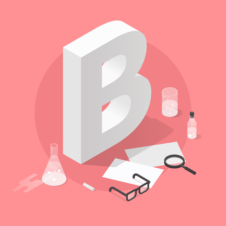Vector isometric school grade illustration. Big letter grade B with glasses, papers, test-tubes, magnifier and chalk. Exam results concept. Фото со стока - 111129470
