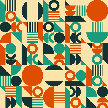 Seamless vector geometric background pattern in retro mid century style. Vintage colours.