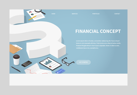 Vector isometric financial illustration. Big dollar sign surrounded business related objects - charts, papers, credit card, documents, glasses, and coffee. Money and investing landing page concept.