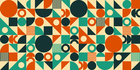 Abstract geometric mid century vector background. Retro space poster design. Иллюстрация