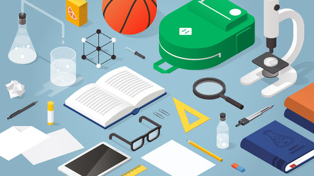 Vector isometric school supplies illustration. Layout of school stationery, books, backpack, basketball, papers, glasses, microscope and  electronic devices. School subjects and activities concept. Иллюстрация